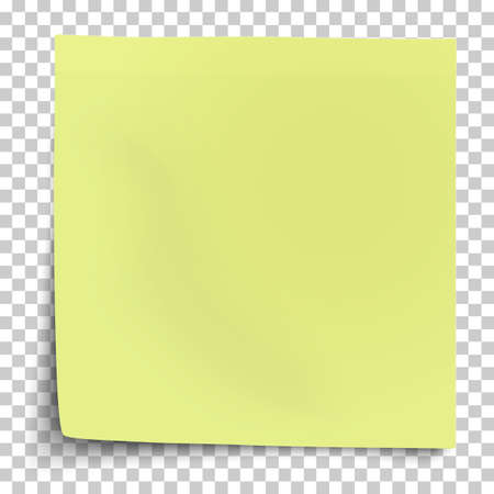 Office yellow-green paper sticker with bent lower left corner isolated on transparent background. Template vector post note. 矢量图像