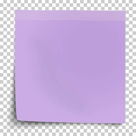 Office violet paper sticker with bent lower left corner isolated on transparent background. Template vector post note. 矢量图像