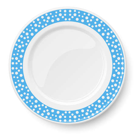 Blue plate with white polka dot pattern isolated on white background