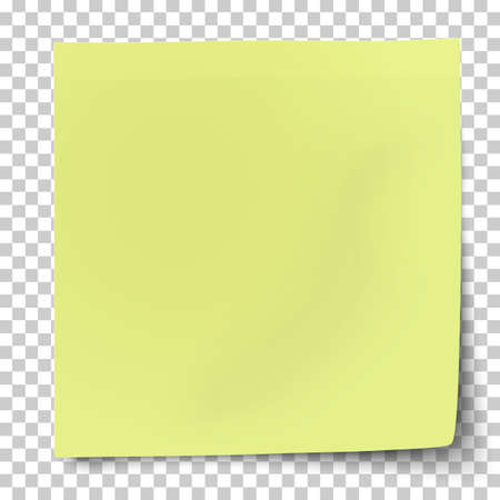 Office yellow-green paper sticker with bent lower right corner isolated on transparent background. Template vector post note.