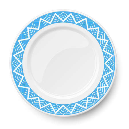 Blue plate with white geometric pattern isolated on white background