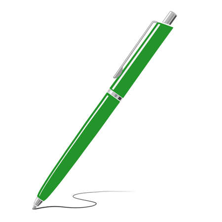 Green writing metal pen icon isolated on white background. Vector illustration.