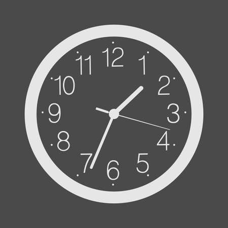 Vector simple classic white round wall clock icon isolated on black background