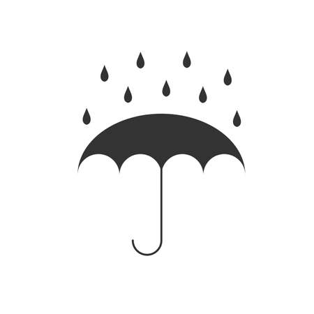 Vector illustration of umbrella with water drops fall. Umbrella that protects from rain. Symbol of protection against getting wet. Meteorology, safety, autumn season concept. Umbrella icon isolated on white background.
