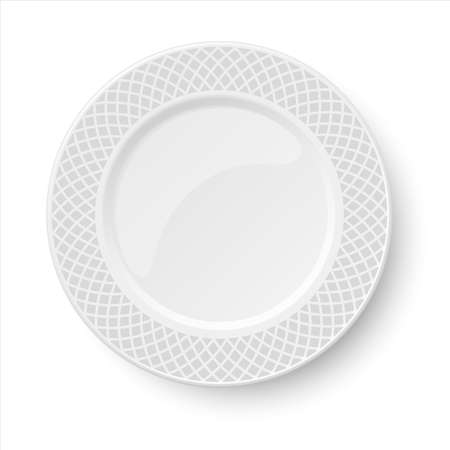 Empty classic white vector plate with gray pattern isolated on white background. View from above.