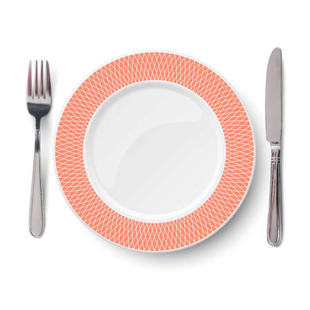 Empty vector orange with geometric white pattern and knife and fork isolated on white background. View from above.