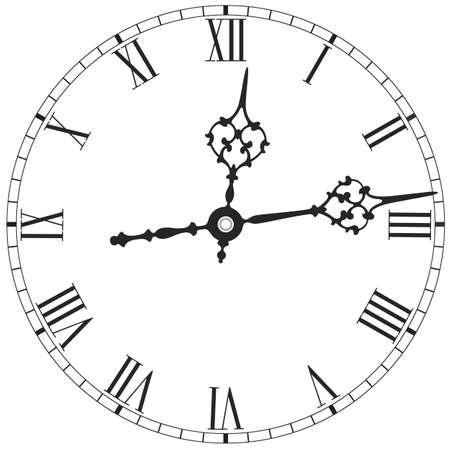 Elegant clock face with roman numerals on white 矢量图像