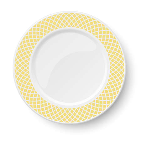 Empty classic white vector plate with yellow pattern isolated on white background. View from above. 矢量图像