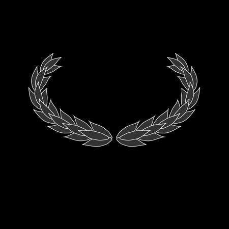 Oval laurel wreath vector icon isolated on black background