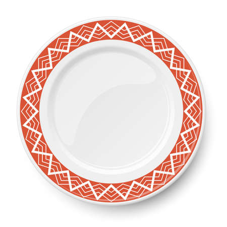 Red plate with white geometric pattern isolated on white background