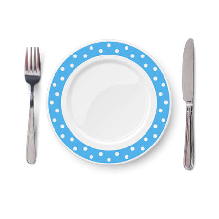 Empty vector blue plate with polka dot color pattern and knife and fork isolated on white background. View from above.