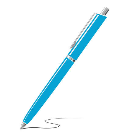 Blue writing metal pen icon isolated on white background. Vector illustration. 矢量图像
