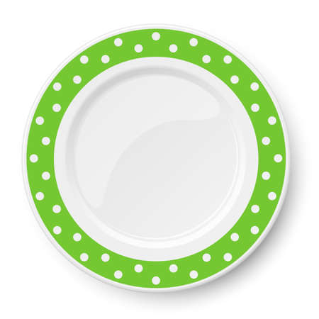 Green vector plate with white polka dot pattern isolated on white background