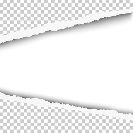 Vector torn, snatched window with white background in transparent sheet of paper.
