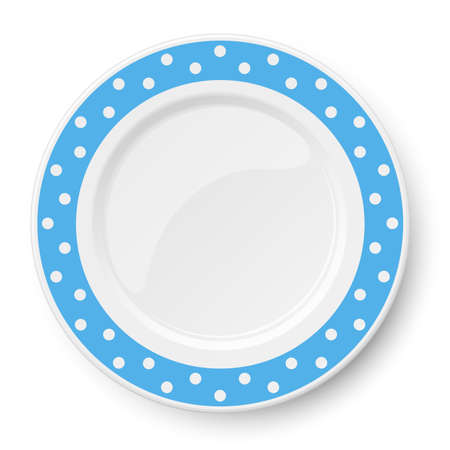 Blue vector plate with white polka dot pattern isolated on white background