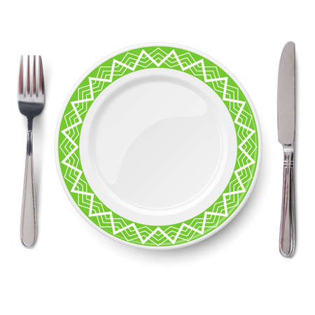 Empty vector green plate with white geometric line pattern and knife and fork isolated on white background. View from above. 矢量图像