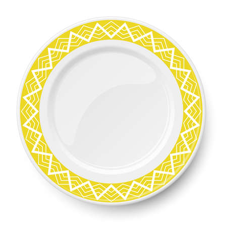 Yellow plate with white geometric pattern isolated on white background