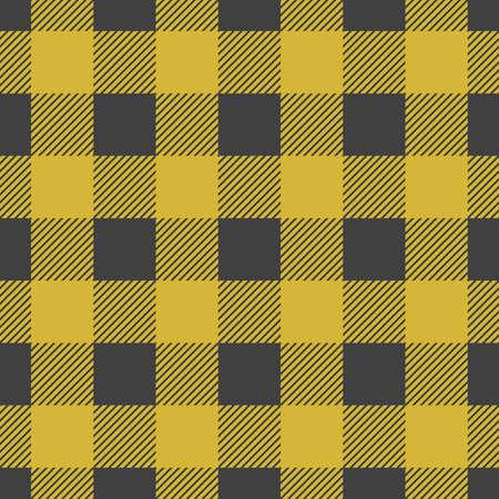 Lumberjack plaid seamless pattern. Vector illustration. Yellow color. Textile template. 矢量图像