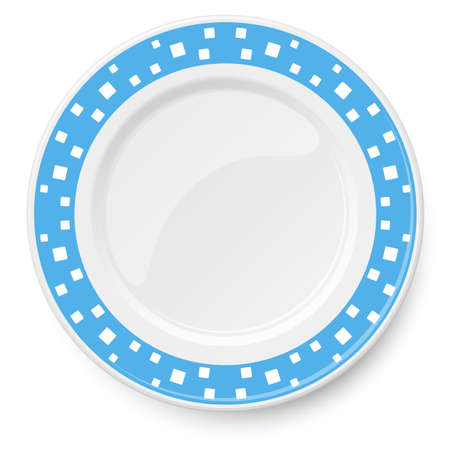 Blue vector plate with white pattern of square elements of different sizes placed chaotically, isolated on white background