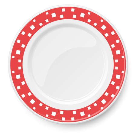 Red vector plate with white pattern of square elements of different sizes placed chaotically, isolated on white background