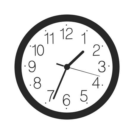 Vector simple classic black and white round wall clock icon isolated on white background 矢量图像
