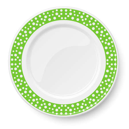 Green plate with white polka dot pattern isolated on white background 矢量图像