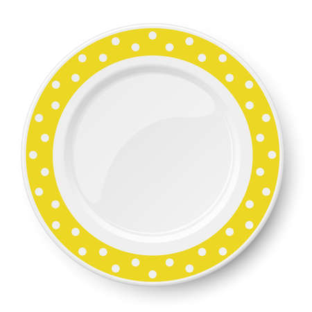 Yellow vector plate with white polka dot pattern isolated on white background