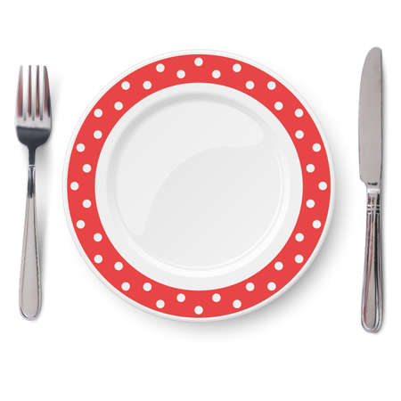 Empty vector yellow plate with polka dot color pattern and knife and fork isolated on white background. View from above. 矢量图像