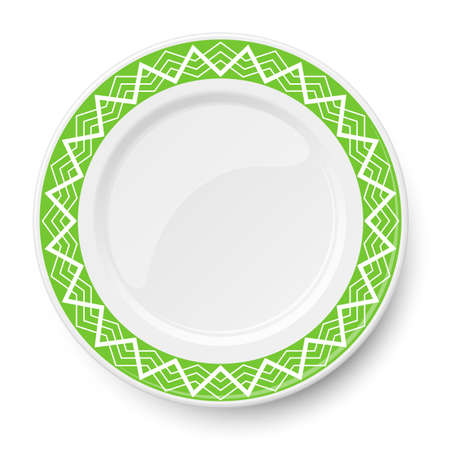 Green plate with white geometric pattern isolated on white background