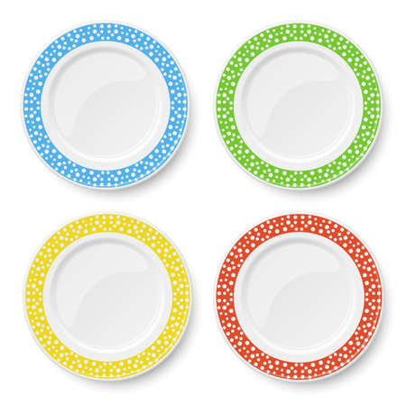 Set of color plates with white polka dot pattern isolated on white background 矢量图像
