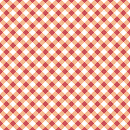 Vector seamless table cloth texture with diagonal lines in red-orange color