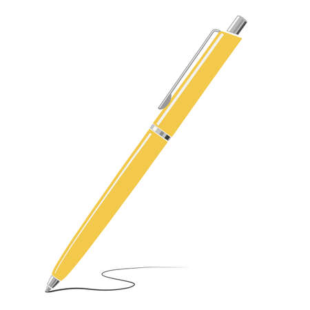 Yellow writing metal pen icon isolated on white background. Vector illustration.