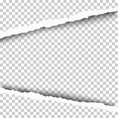 Torn, snatched window in transparent sheet of paper. Vector template paper design.