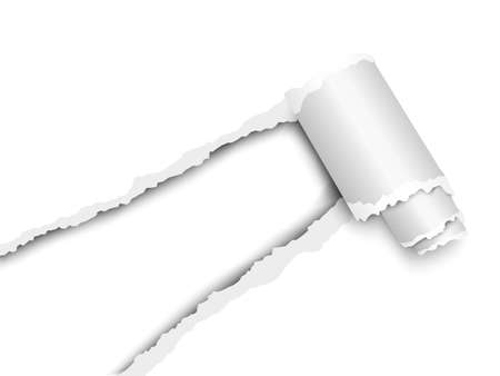Torn, snatched window placed diagonally from lower left corner in white paper with paper curl. White background of the resulting hole. Vector template paper design.