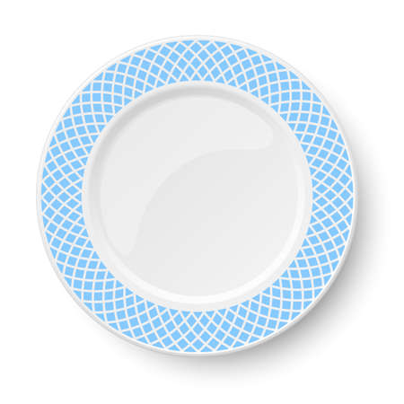 Empty classic white vector plate with light blue pattern isolated on white background. View from above. 矢量图像