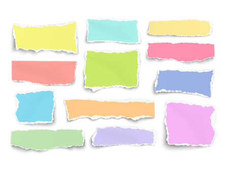 Set of paper different shapes and colors scraps isolated on white 矢量图像