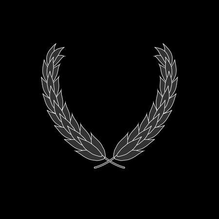 Laurel wreath vector icon isolated on black background