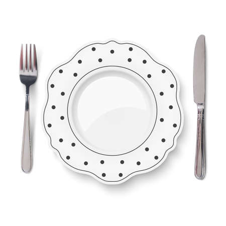 Empty vector white dish with black polka dot pattern and knife and fork isolated on white background. Close up view from above. 矢量图像