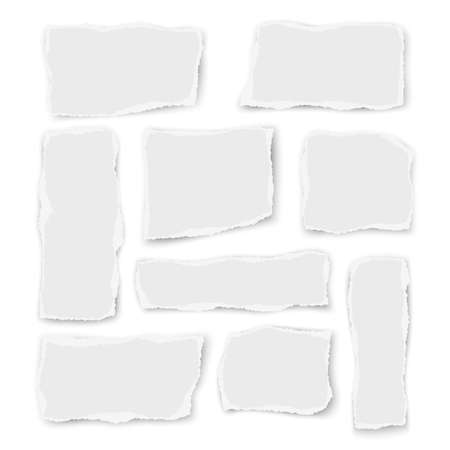 Set of paper different shapes and orientation scraps isolated on white background. Vector illustration. 矢量图像