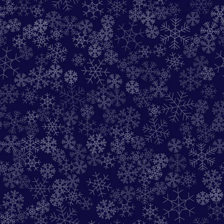 Seamless winter background consisting of snowflakes of different shapes
