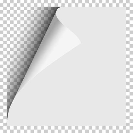 Sheet of white paper with curled corner, soft shadow and transparent next page. Element with space for text, ad and other aims. Template paper design. Vector illustration. 矢量图像