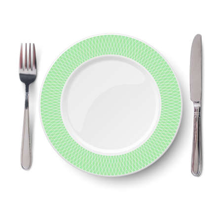 Empty vector green plate with geometric white pattern and knife and fork isolated on white background. View from above. 矢量图像