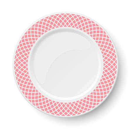 Empty classic white vector plate with rose pattern isolated on white background. View from above.