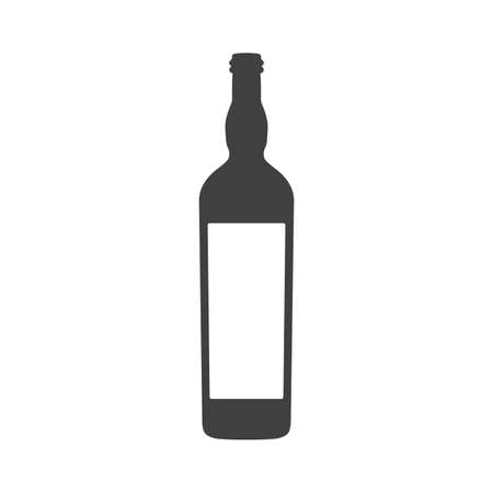 Vector wine bottle with label isolated on white background. 矢量图像