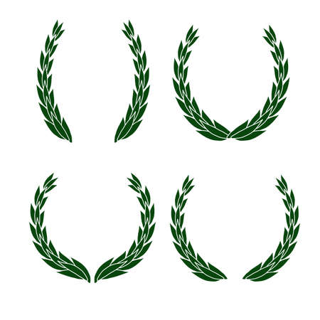 Set of laurel wreath vector icon different shapes isolated on white background 矢量图像