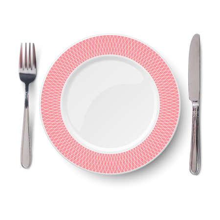 Empty vector rose plate with geometric white pattern and knife and fork isolated on white background. View from above.