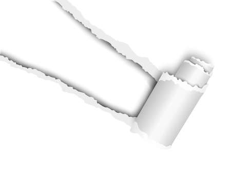 Torn, snatched window placed diagonally from upper left corner in white paper with paper curl. White background of the resulting hole. Vector template paper design. Illustration