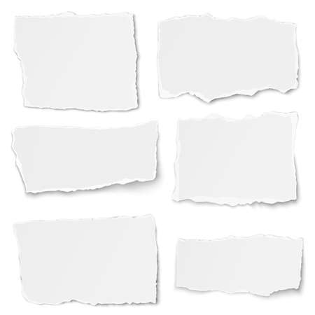 Set of paper different shapes tears placed on white