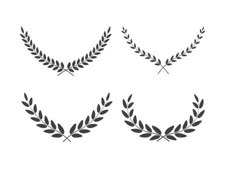Set of wide laurel wreaths vectors of different shapes isolated on white background