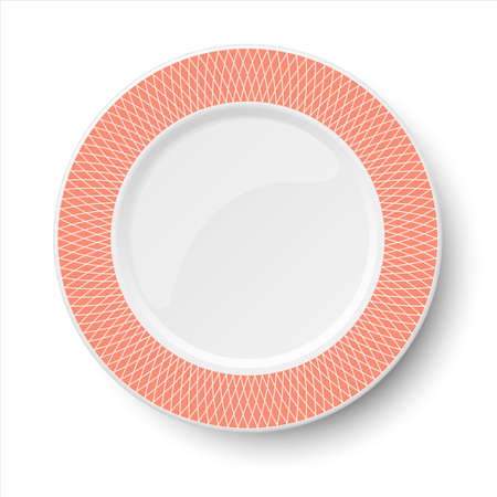 Empty classic white vector plate with orange pattern isolated on white background. View from above.